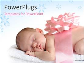 PowerPlugs: PowerPoint template with sleeping newborn wrapped in a broad pink ribbon and a bow with blue decorative shapes