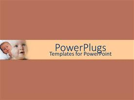 PowerPlugs: PowerPoint template with sleepy newborn next to smiling baby on brown background