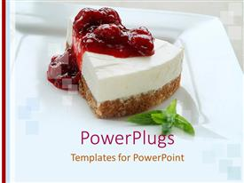 PowerPlugs: PowerPoint template with sliced cheesecake with red fruits topping and mint leaves on a white plate