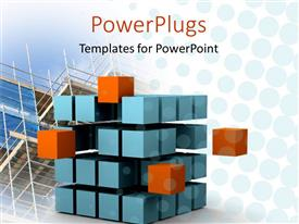 PowerPlugs: PowerPoint template with sliced cube with blue and orange small cubes showing motion and change with glass building construction in the background
