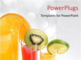 PowerPlugs: PowerPoint template with sliced fruits hanging onglasses of juice on white background