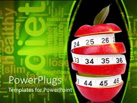 PowerPlugs: PowerPoint template with sliced up red apple with a measuring tape surrounding it