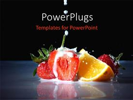 PowerPlugs: PowerPoint template with slices of fresh fruits dipped in milk on a black background