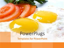 PowerPlugs: PowerPoint template with slices of tomatoes and vegetables with two fried egg yokes