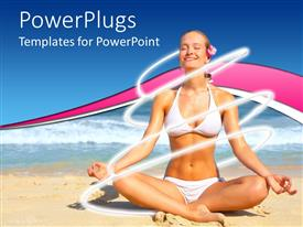 PowerPoint template displaying a slim lady practicing yoga meditation on a sea shore
