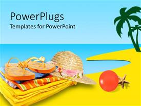 PowerPlugs: PowerPoint template with slipper, hat, summer clothes placing near sea with blue sky
