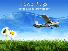 PowerPoint template displaying small airplane descending over a field of grass with two daisies in the foreground
