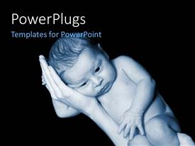 PowerPlugs: PowerPoint template with a small baby laying sideways on his mothers hands