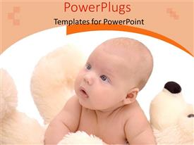 PowerPlugs: PowerPoint template with small baby laying on soft white teddy bear holding head up to look at something