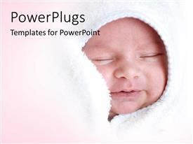 PowerPlugs: PowerPoint template with a small baby smiling and wrapped with a white blanket