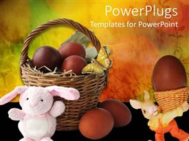 PowerPlugs: PowerPoint template with small basket filled with easter eggs and two easter bunnies
