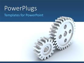 PowerPoint template displaying small and big gear wheels over white and blue background
