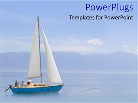 PowerPoint template displaying small blue boat on a calm wide blue sea