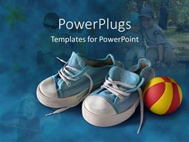 PowerPlugs: PowerPoint template with small blue and white sneakers with a red and yellow ball with children on background
