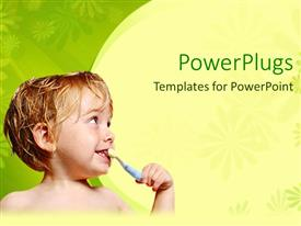 PowerPlugs: PowerPoint template with a small boy brushing his teeth on a yellow and green background