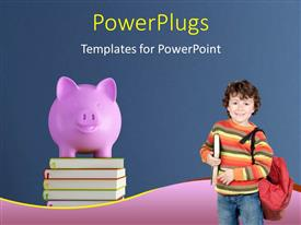 PowerPlugs: PowerPoint template with a small boy carrying a school bag with a stack of books and a piggy bank