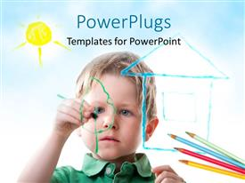 PowerPoint template displaying a small boy drawing on a transparent glass board