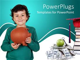 PowerPlugs: PowerPoint template with small boy holding a brown colored piggy bank and smiling