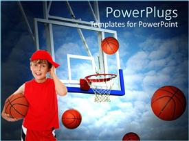PowerPlugs: PowerPoint template with small boy in red holding a basket ball with other balls