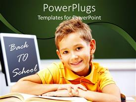 PowerPlugs: PowerPoint template with a small boy smiling with a book and a text that spells out ' Back to school '