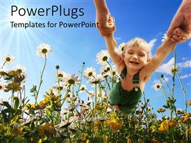 PowerPlugs: PowerPoint template with small child holding parents hands swinging through field of daisies