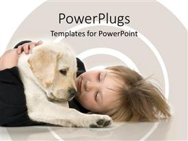 PowerPlugs: PowerPoint template with small child laying on floor with Labrador retriever puppy
