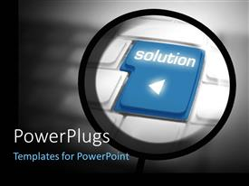 PowerPlugs: PowerPoint template with a small cirlce hovering over a keyoard tab with a text that spells out the word 'Solution '