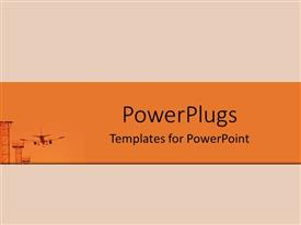 PowerPlugs: PowerPoint template with small depiction of close up of communication tower and airplane landing