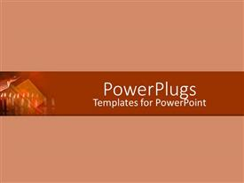 PowerPoint template displaying small depiction of religious theme with risen hand, row of burning candles on peach background