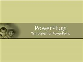 PowerPlugs: PowerPoint template with small depiction of smiling Asian children on simple bold background