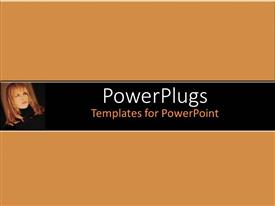 PowerPlugs: PowerPoint template with small depiction of woman face with blond hair on brown background