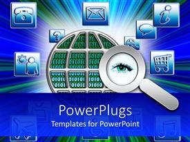 PowerPlugs: PowerPoint template with small depictions related to internet with magnifying glass on eye, abstract globe skeleton