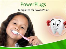 PowerPlugs: PowerPoint template with small girl brushing her teeth with tooth symbol in background depicting dental health