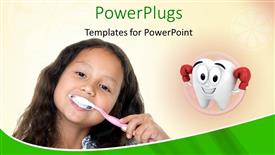 PowerPoint template displaying small girl brushing her teeth with tooth symbol in background depicting dental health