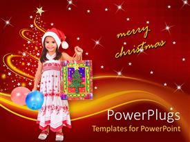 PowerPlugs: PowerPoint template with small girl holding a Christmas gift bag and balloons
