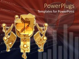 PowerPoint template displaying small golden figures holding calculators on a red hue background