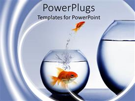 PowerPlugs: PowerPoint template with small goldfish jumping out of smaller fishbowl to larger one and large goldfish watching from smaller fishbowl