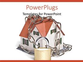 PowerPlugs: PowerPoint template with a small house bound in chains and locked with a padlock