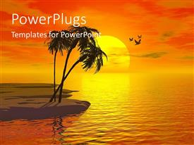 PowerPlugs: PowerPoint template with small island beach with three palm trees over orange yellow sunset