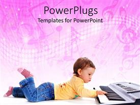 PowerPoint template displaying a small kid playing a piano on a pink background