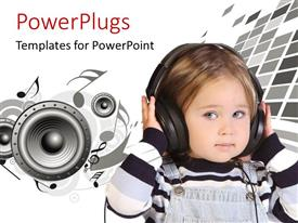 PowerPlugs: PowerPoint template with a small kid wearing a head set and speakers