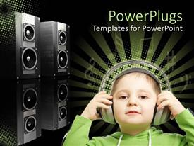 PowerPlugs: PowerPoint template with a small kid wearing headphones with black speakers behind