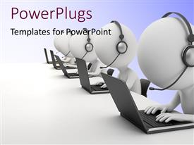 PowerPlugs: PowerPoint template with a number of figures working on the laptops
