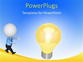 PowerPlugs: PowerPoint template with small person running to a lamp with blue color