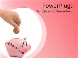 PowerPoint template displaying small pink piggy bank with a hand dropping a coin