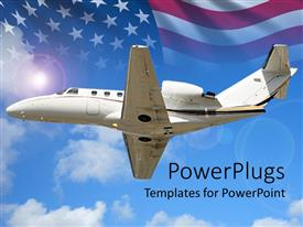 PowerPoint template displaying small private jet flying with US flag in background