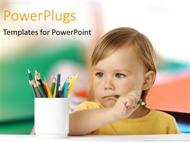 PowerPlugs: PowerPoint template with a small pupil holding a pencil and pondering in a class room setting