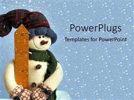 PowerPlugs: PowerPoint template with small snowman in snow holidays christmas decorations