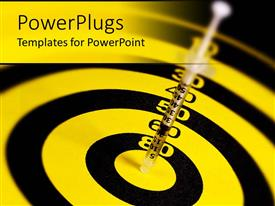 PowerPlugs: PowerPoint template with small syringe at center of yellow and black dartboard