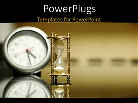 PowerPlugs: PowerPoint template with a small white clock and an hour sand glass